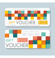 Gift voucher template with retro pattern vector image