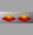 gold royal crown for king and queen on red pillow vector image vector image