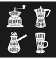 Hand drawn typography coffee related posters set vector image vector image