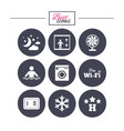 hotel apartment service icons wifi internet vector image vector image