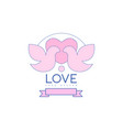 love line logo design with love doves heart and vector image vector image