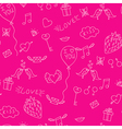 Love seamless pattern with birds mails and hearts vector image