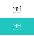 m letter financial chart logo grow up sign vector image