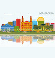 managua nicaragua skyline with color buildings vector image vector image