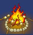 marshmallow on bonfire pop art vector image vector image