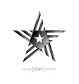 Metal star design element on white background vector image vector image