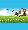 nature scene background with birds in their house vector image vector image