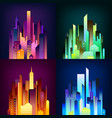 night city illuminated 4 icons poster vector image
