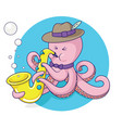 octopus plays saxophone vector image