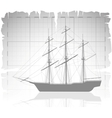 Old ship over ancient map with grid vector image