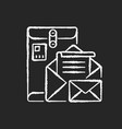 postbox chalk white icon on black background vector image vector image
