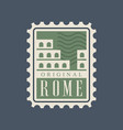 rome city postal stamp with abstract colosseum vector image vector image