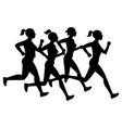 running female silhouettes isolated on white vector image