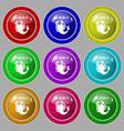 Scorpio icon sign symbol on nine round colourful vector image vector image