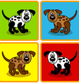 Seamless cartoon dogs over squares vector image vector image