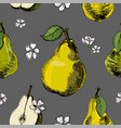 seamless pattern with pear and flowersvintage ink vector image