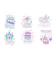 set blue with pink lettering and pictures for a vector image vector image