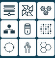 set of 9 machine learning icons includes vector image vector image