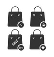 set of black shopping bags vector image vector image