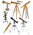 set telescopes collection astronomical vector image