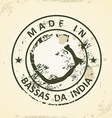 Stamp with map of Bassas da India vector image