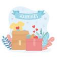 volunteering help charity volunteers boxes vector image vector image