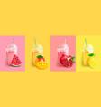watermelon mango pomegranatelemon smoothie set vector image vector image