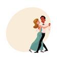 couple of professional ballroom dancers caucasian vector image