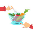 vegetables on the kitchen scales diet concept vector image