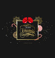 merry christmas hand lettering in gold with vector image