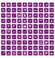 100 sea life icons set grunge purple vector image vector image