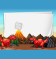 a dinosaur banner template in nature scene vector image vector image