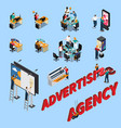 advertising agency isometric people vector image vector image