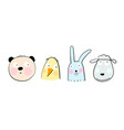 animals heads for kids hand drawn cartoon vector image