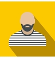Bearded man in prison garb flat vector image vector image