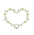 Beautiful Green Daisy Flowers in Heart Shape vector image