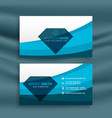 blue wave business card template design with vector image