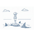Business woman doodle standing on rock with sharks