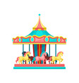 carousel with horses amusement park element vector image vector image