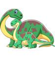 cartoon brontosaurus with her baby vector image vector image