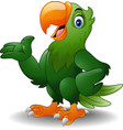 cartoon happy parrot presenting vector image vector image