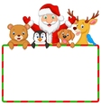 Cartoon Santa and friend with blank sign vector image vector image