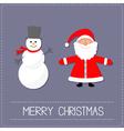 Cartoon Snowman and Santa Claus Violet background vector image