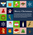 Christmas icons flat style winter decoration