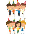 cute boys and girls hugging and holding vector image