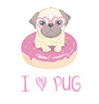 cute pug dog flat character with red tongue and vector image vector image