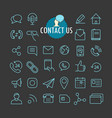 different contact icons collection web and mobile vector image