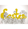 Easter background with lettering and wild flowers vector image
