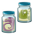 fish stored in formalin strange creatures in banks vector image vector image