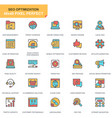 flat line seo and web optimization icons set vector image vector image